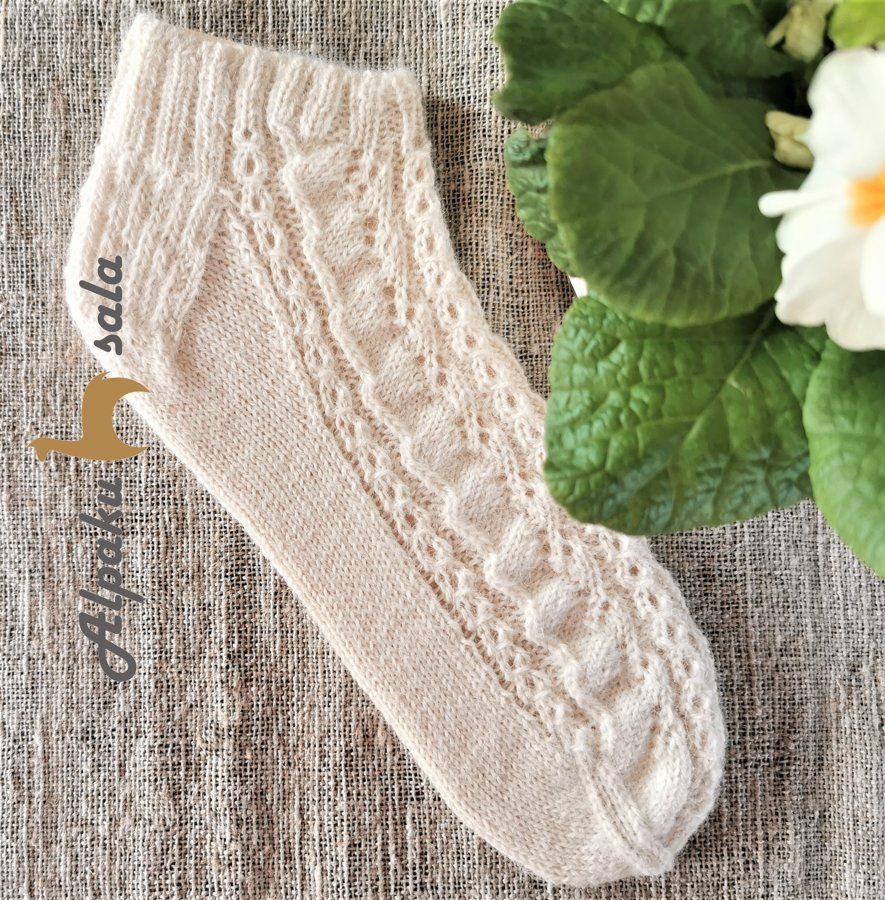 вязаные женские короткие носки Роза, 100% альпака